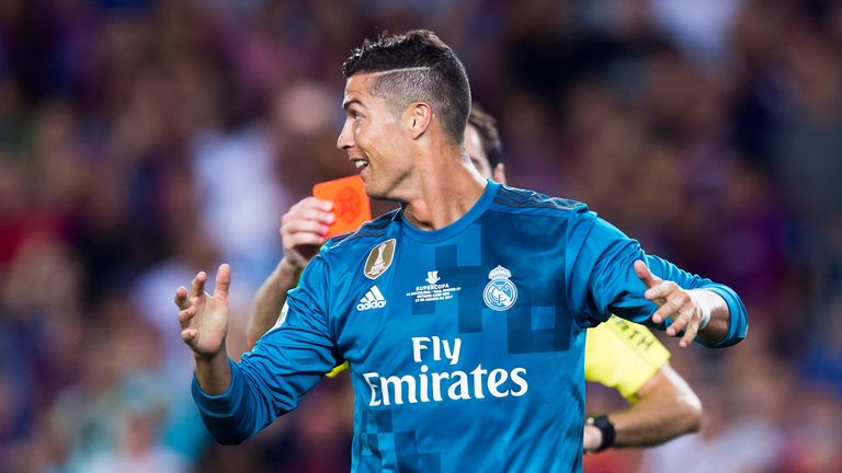Cristiano Ronaldo reacts to his red card during the Spanish Super Cup Final, 1st Leg