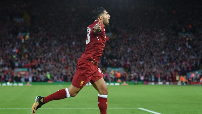 Emre Can goal celeb, Liverpool v Hoffenheim, UEFA Champions League play-off round 2nd leg