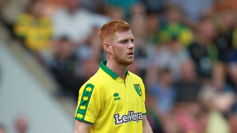 NORWICH, ENGLAND - JULY 29: Harrison Reed of Norwich in action during the pre-season friendly match between Norwich City and Brighton & Hove Albion at Carr