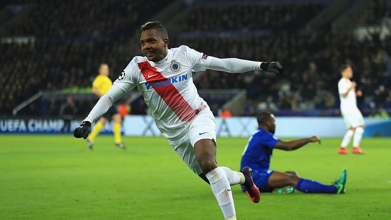 LEICESTER, ENGLAND - NOVEMBER 22:  Jose Izquierdo of Club Brugge celebrates scoring his sides first goal during the UEFA Champions League match between Lei
