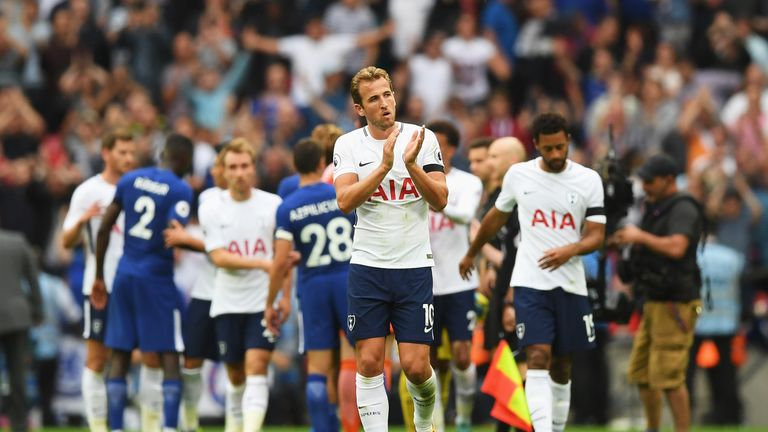 LONDON, ENGLAND - AUGUST 20: Harry Kane of Tottenham Hotspur shows appreciation to the fans after the Premier League match between Tottenham Hotspur and Ch