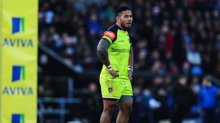 Manu Tuilagi of Leicester Tigers during the Aviva Premiership match between Exeter Chiefs and Leicester Tigers at San