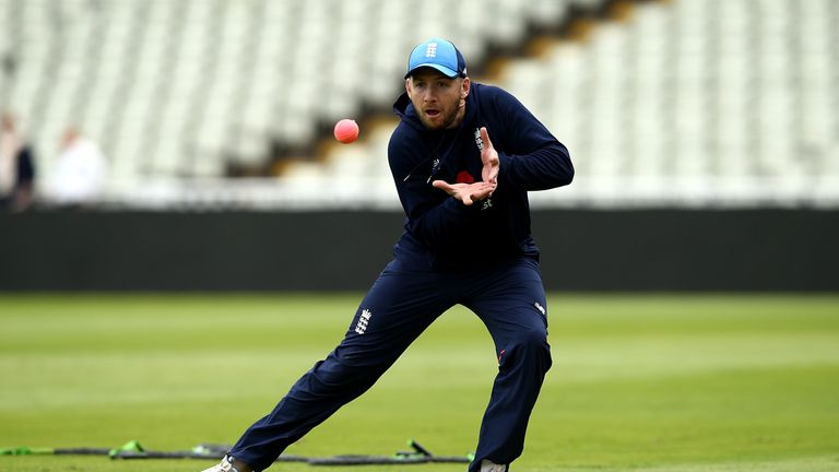 Mark Stoneman takes part in a fielding drill during a nets session at Edgbaston on August 15, 2017