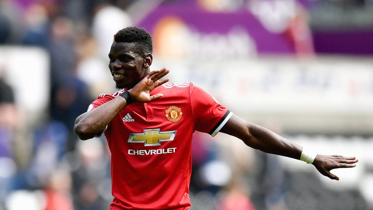 Paul Pogba performs the dab after a 4-0 victory over Swansea City at the Liberty Stadium