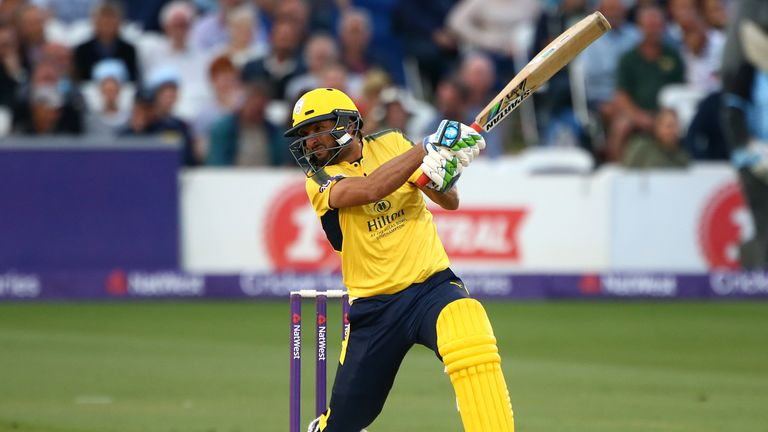HOVE, ENGLAND - JULY 12: Shahid Afridi of Hampshire hits out during the NatWest T20 Blast match between Sussex Sharks and Hampshire at The 1st Central Coun
