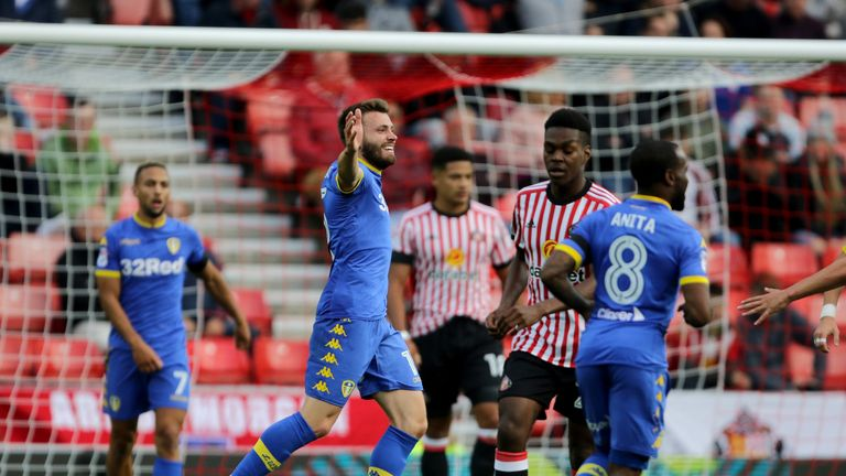 Leeds United's Stuart Dallas celebrates scoring his side's second goal of the game during the Sky Bet Championship match at Sunderland