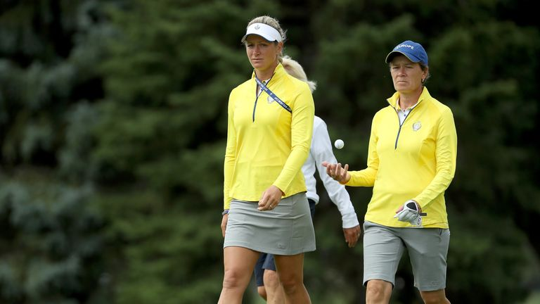 Suzann Pettersen and Catriona Matthew during practice for the 2017 Solheim Cup