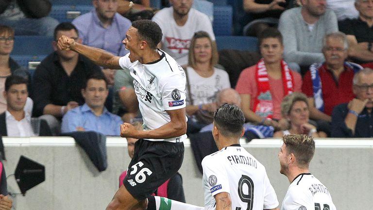 Trent Alexander-Arnold celebrates after opening the scoring against Hoffenheim