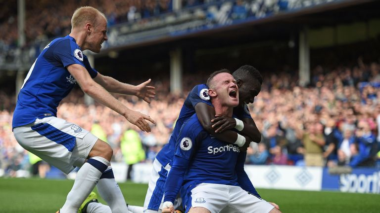 Wayne Rooney celebrates after scoring the winner on his Premier League return to Everton
