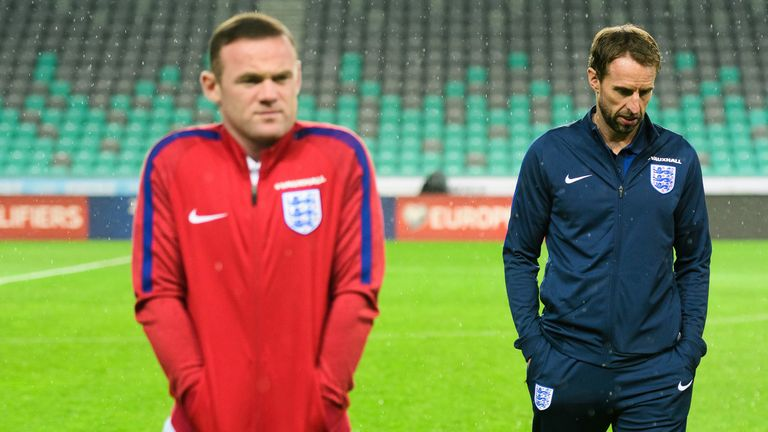 Gareth Southgate and Wayne Rooney on the eve of the World Cup 2018 qualifier against Slovenia