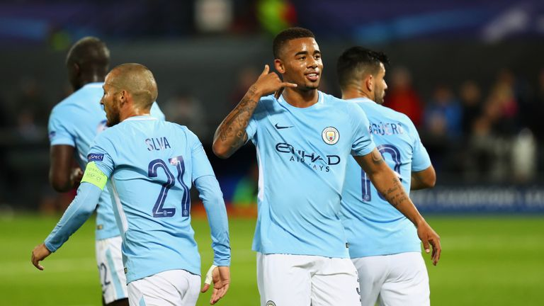 Gabriel Jesus and Sergio Aguero were both on target against Feyenoord