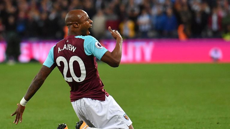 Andre Ayew celebrates his goal against Huddersfield