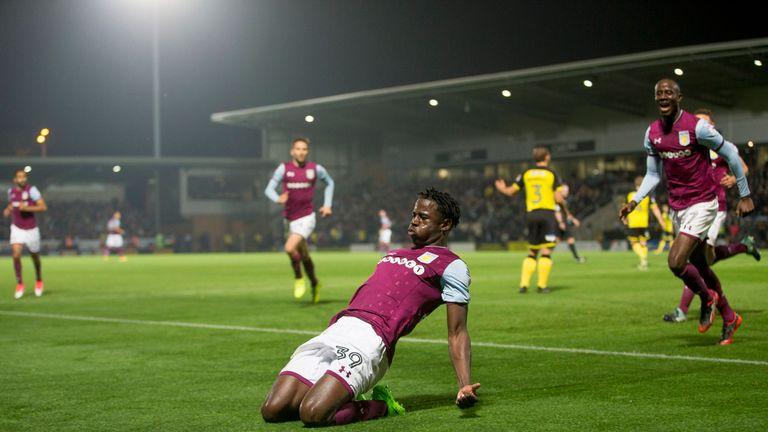 Keinan Davis of Aston Villa celebrates scoring the opening goal against Burton Albion
