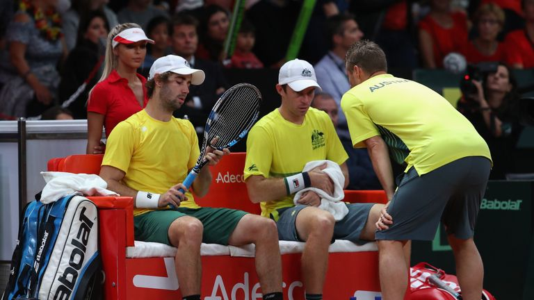 Captain Lleyton Hewitt saw his Australian doubles pair give his team the advantage heading into SUnday's reverse singles