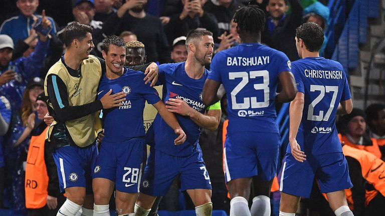 Cesar Azpilicueta (2L) celebrates after putting Chelsea 3-0 up
