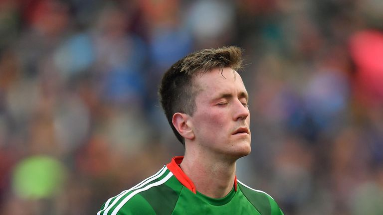 Cillian O'Connor of Mayo dejected after the final match between Dublin and Mayo at Croke Park.