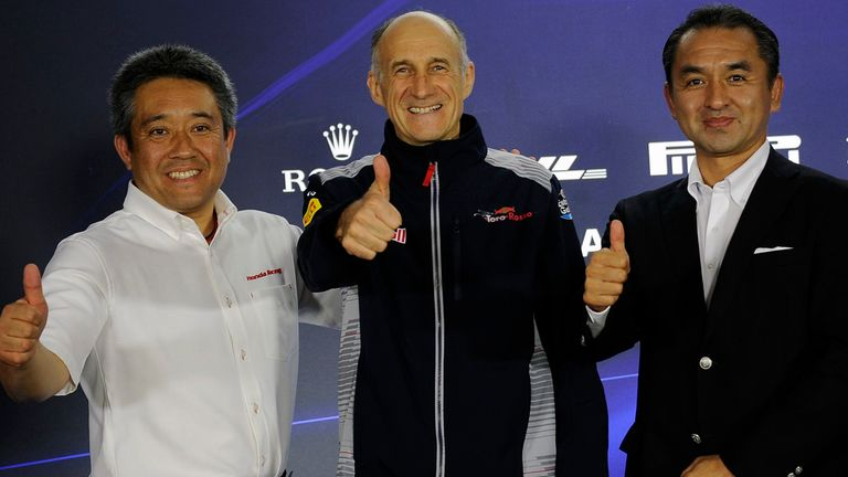Honda chiefs with Toro Rosso boss Franz Tost after the new partnership was announced
