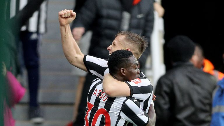 Christian Atsu (left) celebrates with team-mate Matt Ritchie after scoring the opening goal