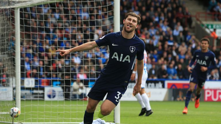 Ben Davies celebrates after scoring Tottenham's second