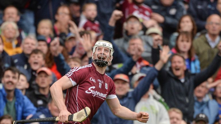 Joe Canning celebrates scoring the winning point in the 2017 All-Ireland hurling semi-final