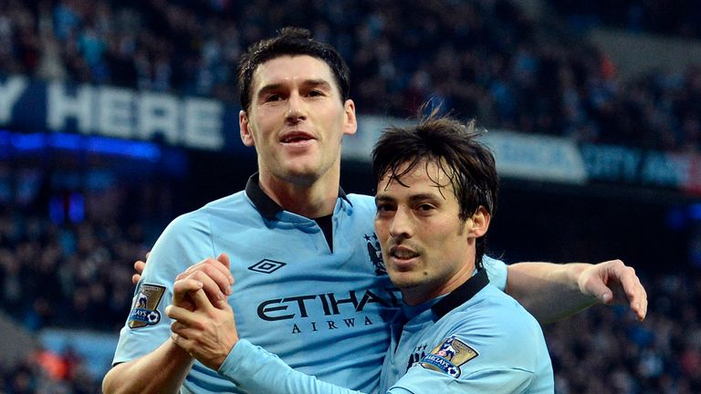 Barry (left) won the league with Manchester City in 2012