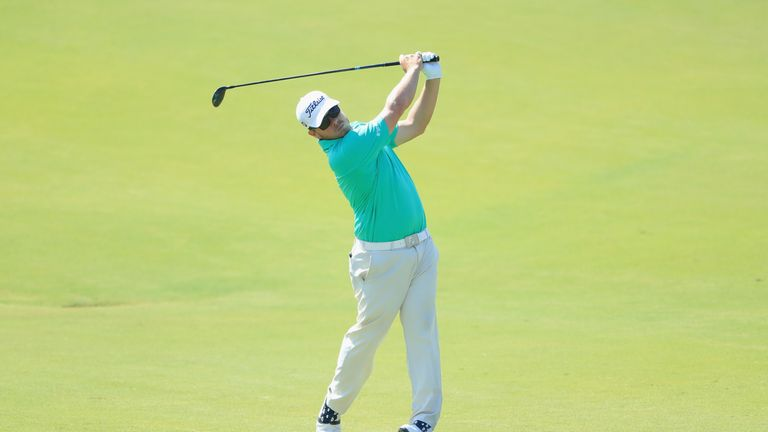 George Coetzee eagled the 17th in Vilamoura to move into second place