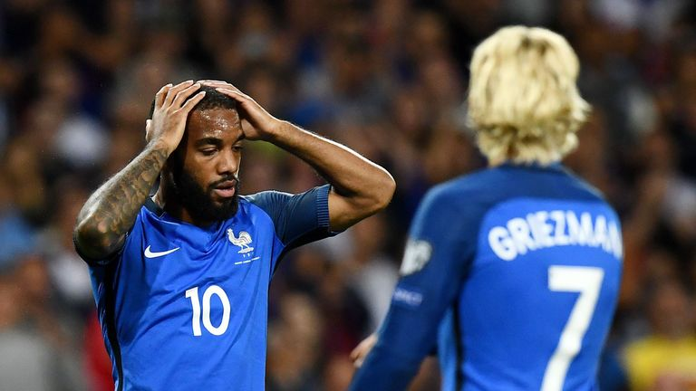 Alexandre Lacazette reacts after France's shock draw with Luxembourg