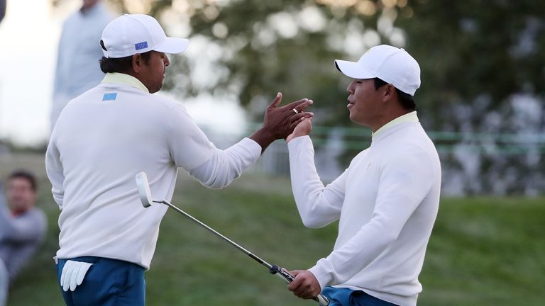 Anirban Lahiri and Si Woo Kim of South Korea secured an impressive 1up victory over Charley Hoffman and Kevin Chappell