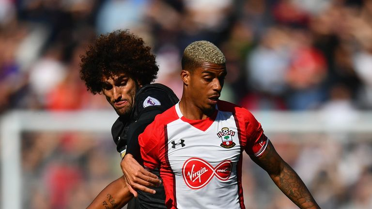 Marouane Fellaini and Mario Lemina in action