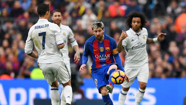Pick your El Clasico combined XI and read Terry Gibson's selections Skysports-messi-ronaldo-barcelona-real-madrid_4097894