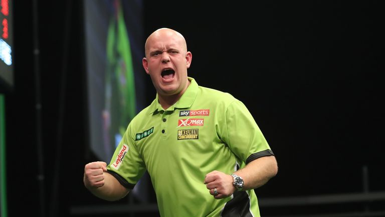 Defending champion Michael van Gerwen is back in action on Sunday