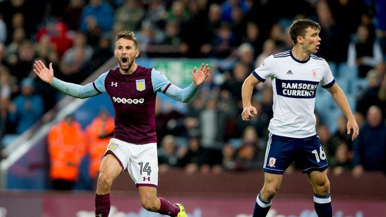 Aston Villa's Conor Hourihane reacts during the match at Villa Park