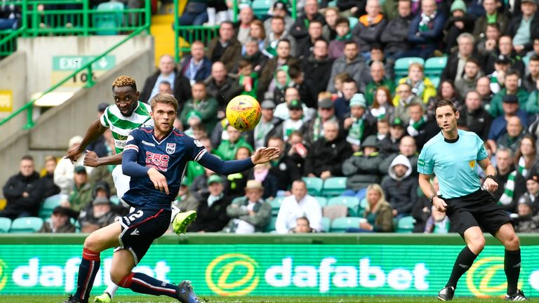 Moussa Dembele (partially hidden) marked his return to the Celtic side with the second goal