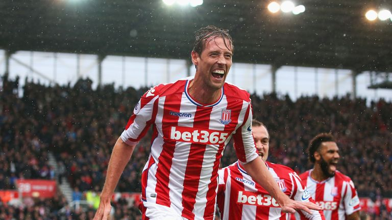 Peter Crouch celebrates his late winner against Southampton