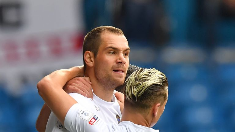Leeds striker Pierre-Michel Lasogga celebrates after scoring