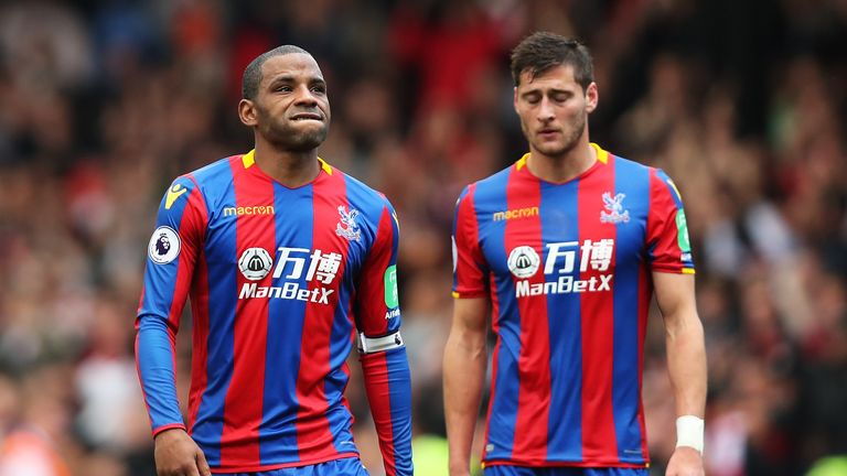 Jason Puncheon and Joel Ward leave the field following a 1-0 loss to Southampton and a fifth straight Premier League defeat