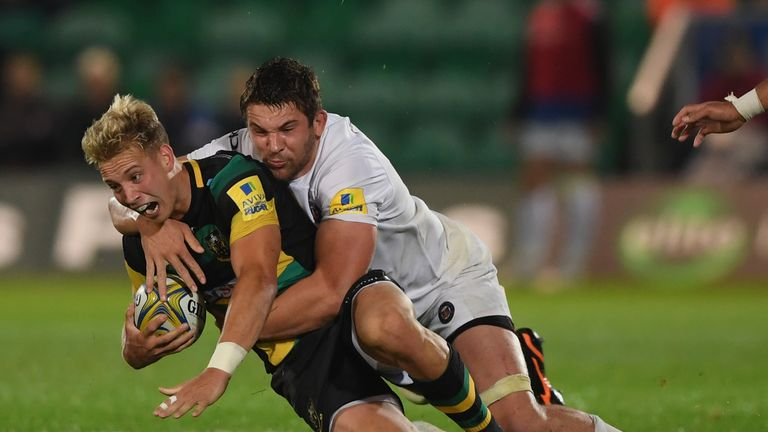 Harry Mallinder is tackled by Bath's Charlie Ewels