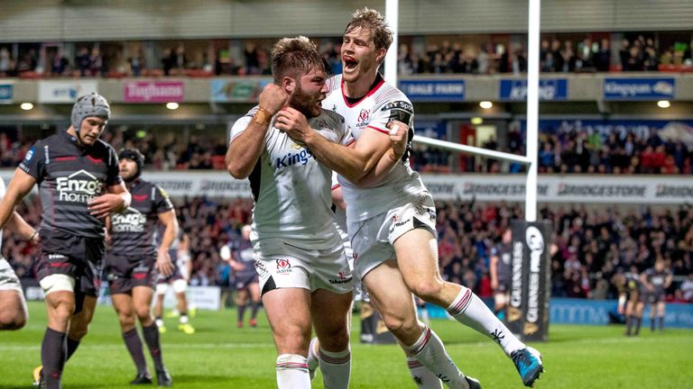 Andrew Trimble congratulates John Andrew after the replacement scored Ulster's second try