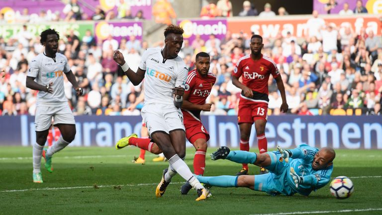 Tammy Abraham scores the equaliser against Watford
