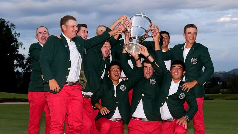 Team USA pose with the 2017 Walker Cup after beating Great Britain and Ireland 19-7