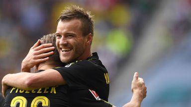 Andrey Yarmolenko celebrates scoring for Dortmund