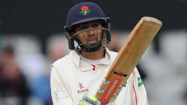 Haseeb Hameed fractured his finger batting for Lancashire on Thursday