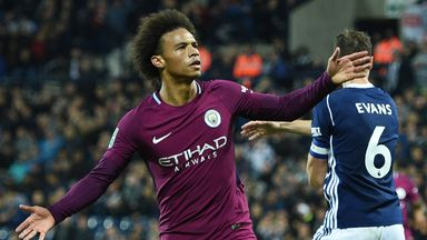 Leroy Sane celebrates after scoring Manchester City's second goal during the Carabao Cup third round football match at West Brom
