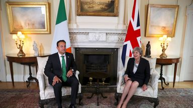 Prime Minister Theresa May and Irish Taoiseach Leo Varadkar during a bilateral meeting in Downing Street on Monday