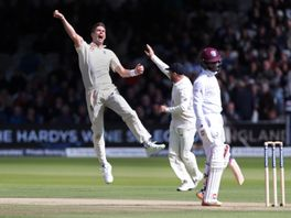 James Anderson of England celebrates after taking his fifth wicket