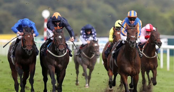 Seahenge (right) comes out on top in the Champagne Stakes