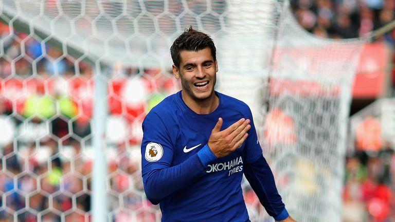 Alvaro Morata scoring his side's third goal at Stoke
