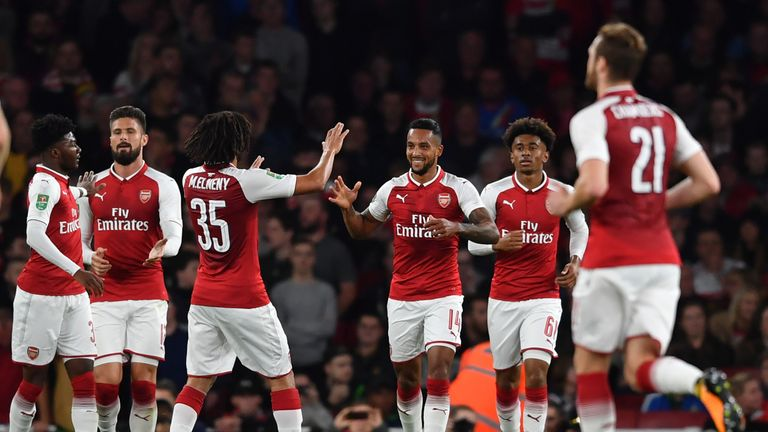 Theo Walcott, goal celeb, Arsenal v Doncaster, Carabao Cup