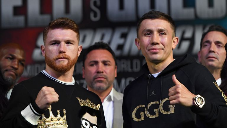 Saul 'Canelo' Alvarez (L) and WBC, WBA and IBF middleweight champion Gennady Golovkin