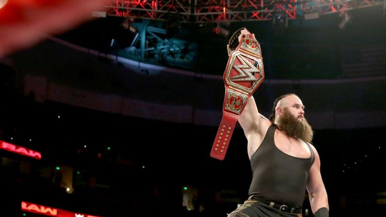 Braun Strowman stood over Brock Lesnar with the Universal Championship in hand to send a message ahead of their clash at No Mercy.